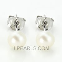 925 silver stud earrings with 5-5.5mm white button pearls