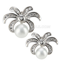 New 925 sterling silver Spider Flower bread pearl earring