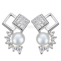 New 925 sterling silver Diamonds bread pearl earring