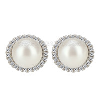 New 925 sterling silver Diamonds round pearl earring
