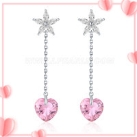 925 sterling silver long shape rice pearl earring