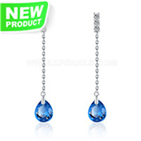 New 925 sterling silver long shape rice pearl earring