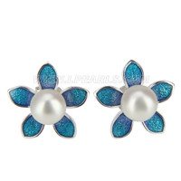 925 sterling silver Blue flower round pearl earring