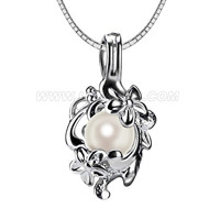wholesale flower 925 sterling silver locket Akoya pearl pendant