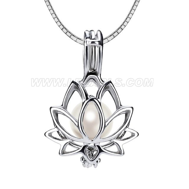 wholesale 925 sterling silver lotus pearl cage pendant necklace