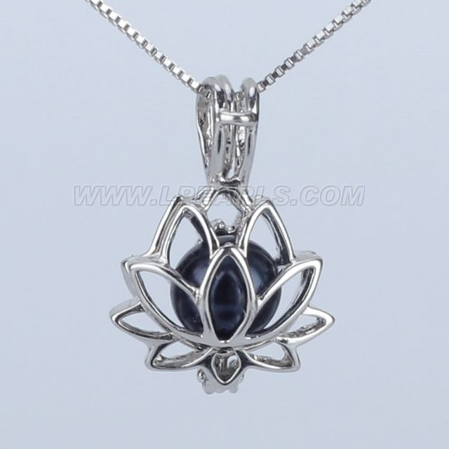 Wholesale 925 sterling silver lotus pearl cage pendant necklace lp wholesale 925 sterling silver lotus pearl cage pendant necklace aloadofball Images