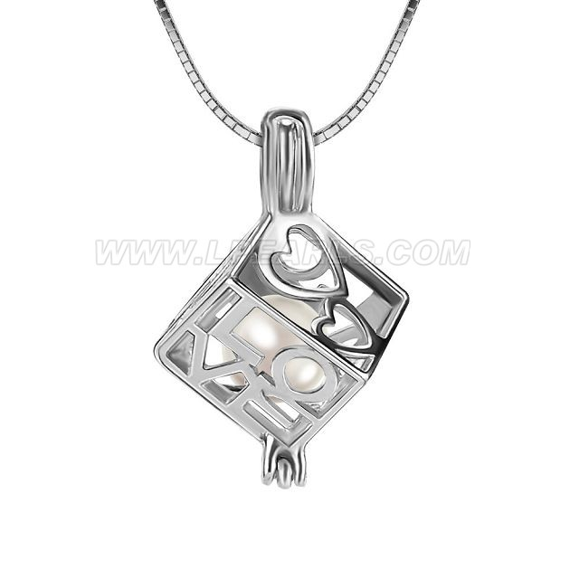 LOVE cube 925 sterling silver locket pendant necklace with pearl