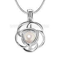 women 925 sterling silver rose locket pearl pendant necklace