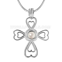 women 925 sterling silver cross cage pendant necklace