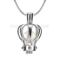 Princess 925 sterling silver crown Akoya pearl locket pendant ne