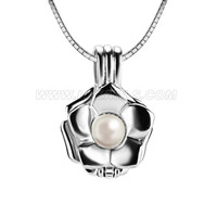 925 sterling silver rose locket pendant necklace with pearl