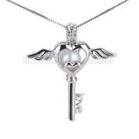 925 sterling silver angel heart key locket pendant necklace