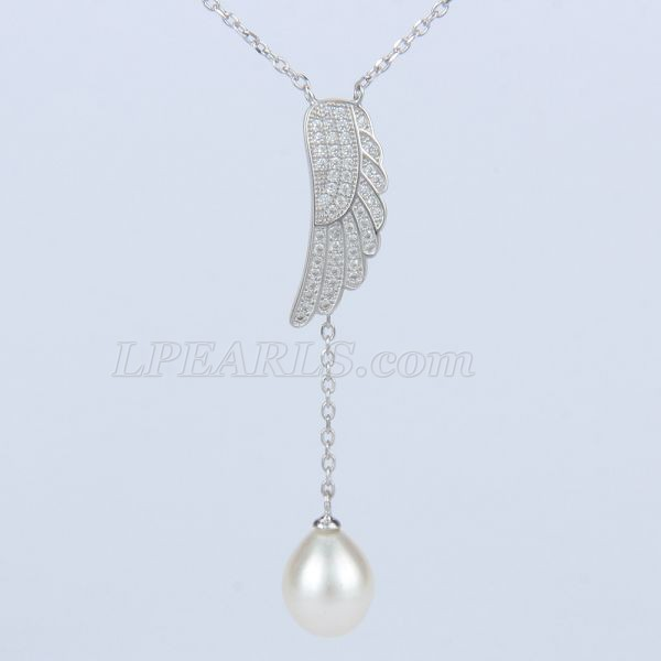 925 sterling silver wings oval pearl pendant necklace