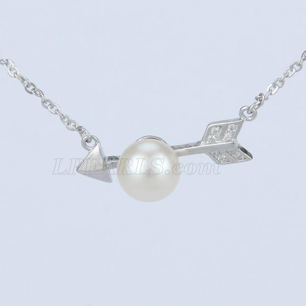 925 sterling silver Akoya pearl pendant necklace