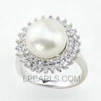Sunflower 925 sterling silver bread pearl ring