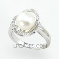 925 sterling silver bread pearl ring wholesale
