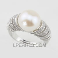 wholesale 11-12mm 925 sterling silver pearl ring