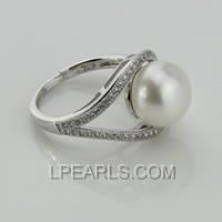 wholesale 925 sterling silver ring with 10-10.5mm pearl
