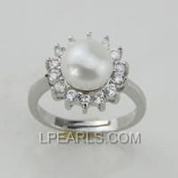 9-9.5mm 925 sterling silver pearl ring on wholesale