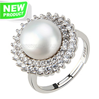 wholesale 925 flower shape bread pearl adjustable ring with zirc