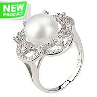 wholesale 925 flower shape bread pearl ring with zircons