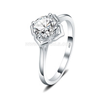 S925 sterling silver CZ flower wedding ring for women