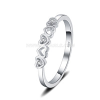 S925 sterling silve CZ love hearts ring for women