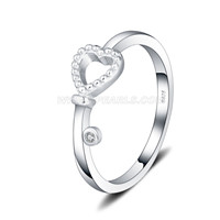 S925 sterling silve CZ heart wedding ring for women