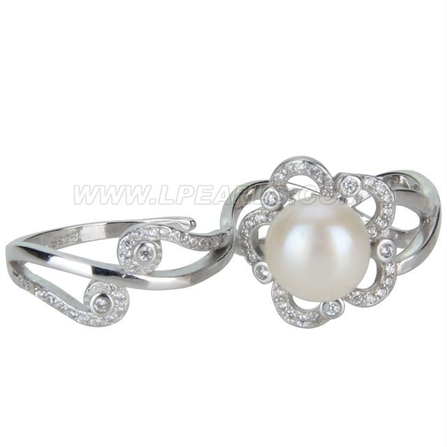 9.5-10mm 925 sterling silver flower adjustable pearl double ring