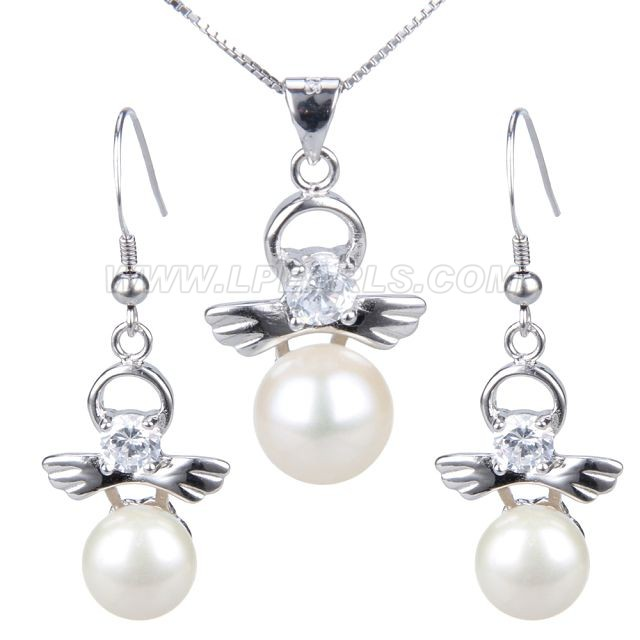 925 sterling silver pearl angel pendant necklace jewelry set