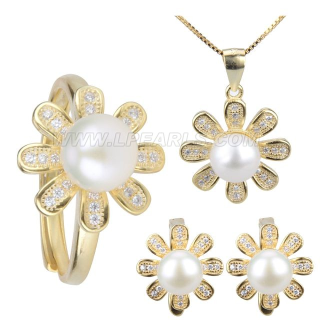 wholesale 925 sterling silver plated gold jewelry set