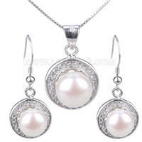 Fashion 925 sterling silver pearl necklace pendant earrings set