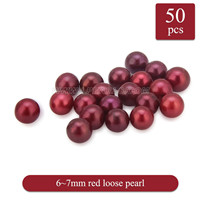 New 6-7mm Red round Akoya loose pearl 50pcs
