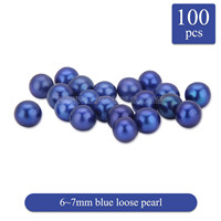 Fascinating 6-7mm Blue round Akoya loose pearl 100pcs