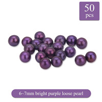 Fascinating 6-7mm Bright purple round Akoya loose pearl 50pcs