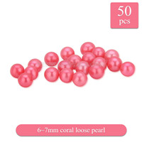 Popular 6-7mm Coral round Akoya loose pearl 50pcs
