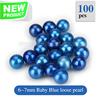 New 6-7mm Baby Blue round Akoya loose pearl 100pcs