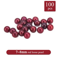 Hot sale 7-8mm Red saltwater round Akoya loose pearl 100pcs