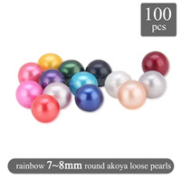 Amazing 7-8mm mixed 10 colors round Akoya loose pearls 100pcs