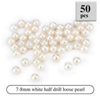 Latest 7-8mm White Half Drill round Akoya loose pearl 50pcs