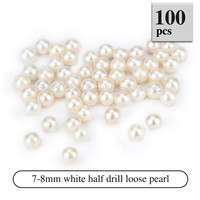 Latest 7-8mm White Half Drill round Akoya loose pearl 100pcs