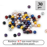 Beautiful 6-7mm Half Drill colorful round Akoya loose pearls 30p