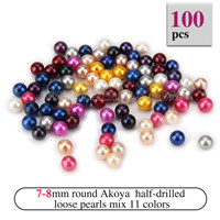 Attractive 7-8mm Half Drill Rainbow colors round Akoya loose pea
