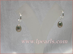 8-9mm peacock tear-drop freshwater jewelry pearls sterling earri