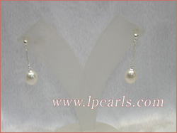 8-9mm white tear-drop freshwater jewelry pearls sterling danglin