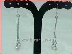6*8mm white tear-drop freshwater jewelry pearl dangle earring