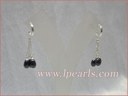 black tear-drop freshwater pearls sterling dangling earring