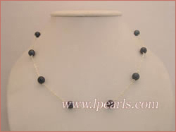 7.5-8mm black tin cup akoya pearl necklace