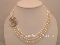 three-strand 6.5-7mm akoya pearl jewelry necklace