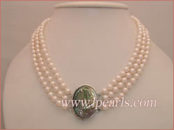 luxury triple-strand 6-6.5mm akoya pearl necklace